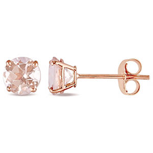 1.00 ct. Morganite Solitaire Stud Earrings in 14K Rose Gold