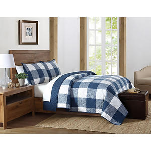 Brooklyn Loom Buffalo Check Quilt and Pillow Shams, 3-Piece Set (Assorted Colors)