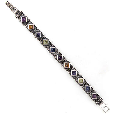 Mullti Gemstone Bracelet in Sterling Silver
