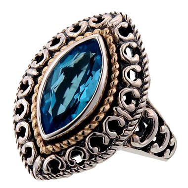 Blue Topaz Ring in Sterling Silver and 14K Yellow Gold