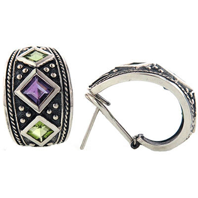 Peridot and Amethyst Earrings Set in Sterling Silver