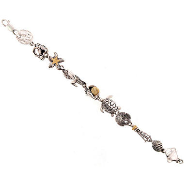Sealife Themed Bracelet in Sterling Silver & 14K Yellow Gold