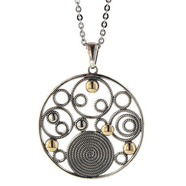 "Circle Medallion Pendant in Sterling Silver & 14K Yellow Gold with 18"" Cable Chain"