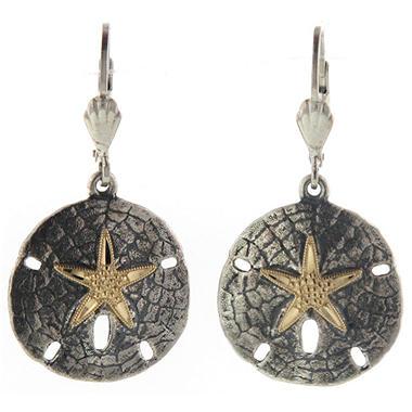 Sand Dollar Earrings in Sterling Silver & 14K Yellow Gold