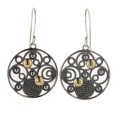 Circle Medallion Earrings in Sterling Silver & 14K Yellow Gold