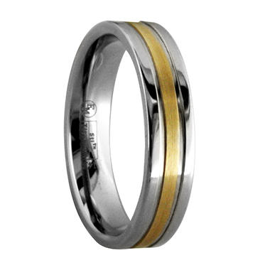Gray Titanium Men's Band with 14K Yellow Gold Inlay - 5 mm