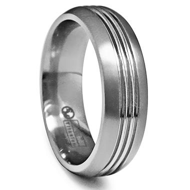 Gray Titanium Men's  Band with Diamond Accent - 7 mm