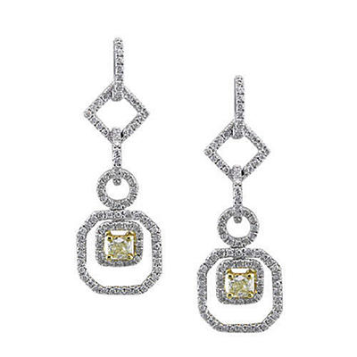 1 ct. t.w. Yellow and White Diamond Earrings