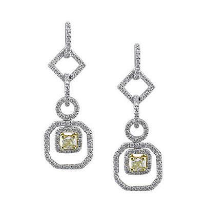 1 ct. t.w. Yellow and White Diamond Earrings