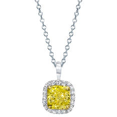 1.60 CT. T.W. Fancy Light Yellow Cushion-Cut Halo Pendant In 18K Gold