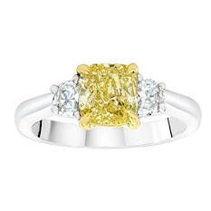 1.75 CT. T.W. Fancy Light Yellow Cushion-Cut 3 Stone Ring In Platinum & 18K Yellow Gold