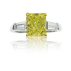 1.76 CT. T.W. Fancy Yellow Radiant-Cut 3 Stone Ring In Platinum & 18K Yellow Gold