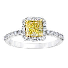 1.41 CT. T.W. Fancy Light Yellow Cushion-Cut Halo Melee Ring In Platinum & 18K Yellow Gold