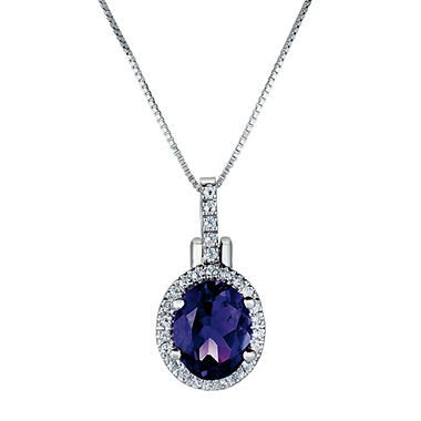 Oval Amethyst and White Topaz Pendant in 14K White Gold