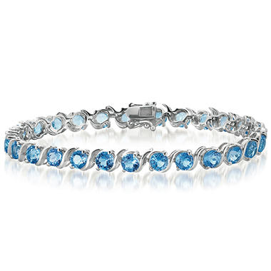 Blue Topaz Tennis Bracelet in Sterling Silver