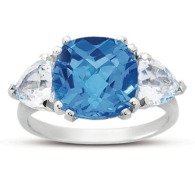 Cushion Cut Blue Topaz and White Topaz Ring in 14k White Gold
