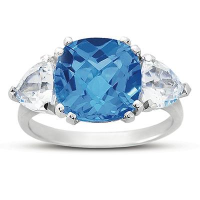 Cushion Cut Blue Topaz and White Topaz Ring in 14k White Gold