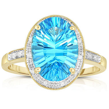 Oval Concave Cut Blue Topaz with Diamonds in 14K Yellow Gold