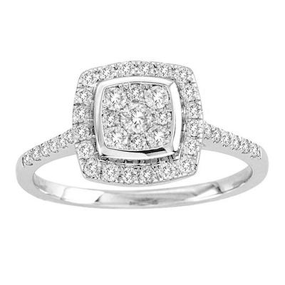 Imperial Diamond Collection 0.50 ct. t.w. Cushion Shape Diamond  Enagement Ring in 14k White Gold (I, I1)