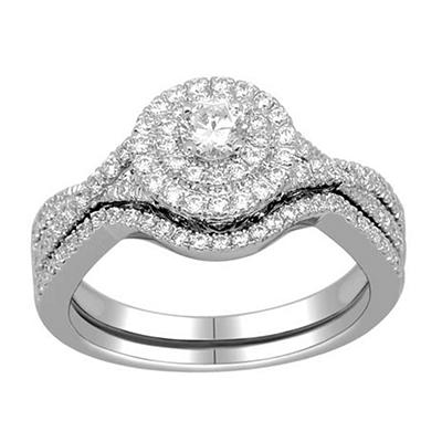 0.75 ct. t.w. Double Halo Bridal Rings Set in 14k White Gold (I, I1)