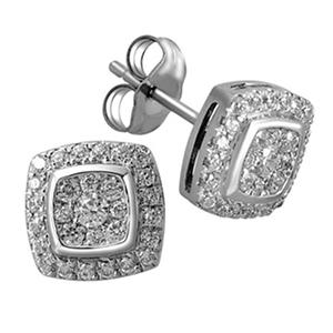 Imperial Diamond Collection 0.50 ct. t.w. Cushion Imperial Diamond Earring in 14k White Gold ( I, I1)