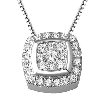 Imperial Diamond Collection 0.33 ct. t.w. Cushion Imperial Diamond Pendant in 14k White Gold (I, I1)