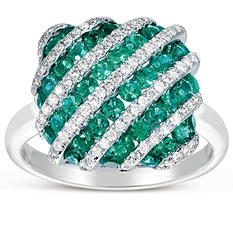 Round-Cut Emerald Ring with Diamonds in 14K White Gold (I, I1)