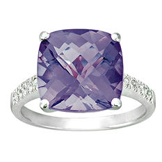 Cushion-Cut Amethyst Ring with Diamonds in 14K White Gold (I, I1)