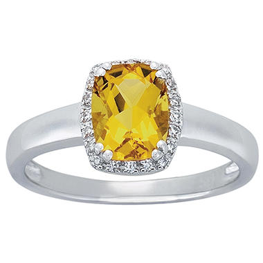 Cushion-Cut Yellow Beryl Ring with Diamonds in 14K White Gold (I, I1)