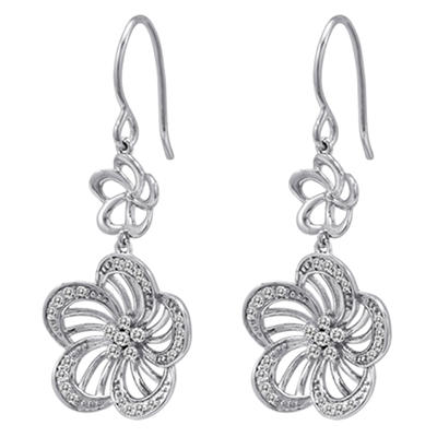 0.49 CT. T.W. Diamond Flower Earrings in Sterling Silver (H-I, I1)