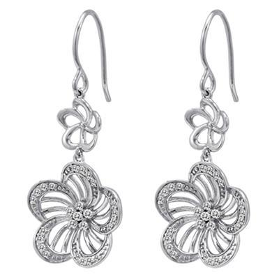 0.49 CT. T.W. Diamond Flower Earrings in Sterling Silver (H-I, I1)