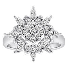 0.50 CT. T.W. Diamond Flower Ring in 14K White Gold (H-I, I1)