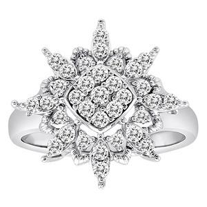0.50 CT. T.W. Diamond Flower Ring in 14K White Gold (H-I, I1)