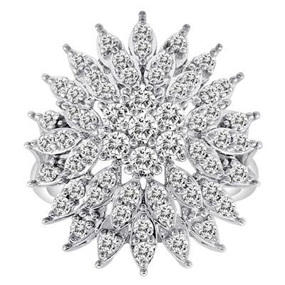 1.50 CT. T.W. Floral Design Diamond Ring in 14K White Gold (H-I, I1)