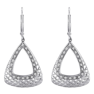 0.25 CT. T.W. Diamond Triangle Hoop Earrings in Sterling Silver (H-I, I1)