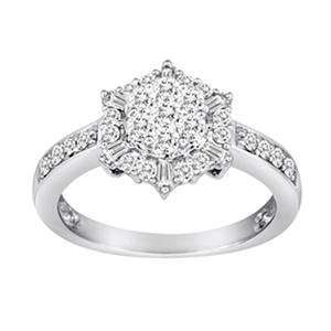 0.75 CT. T.W. Royal Star Diamond Ring in 14K White Gold (H-I, I1)