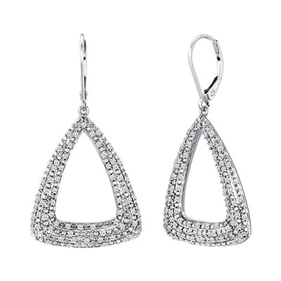 0.75 CT. T.W. Diamond Triangle Hoop Earrings in Sterling Silver (H-I, I1)