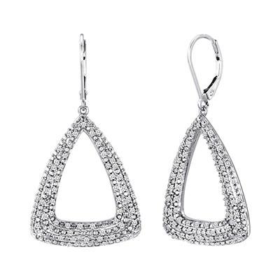 0.75 CT. T.W. Diamond Triangle Hoop Earrings in Sterling Silver (H-I, I1)