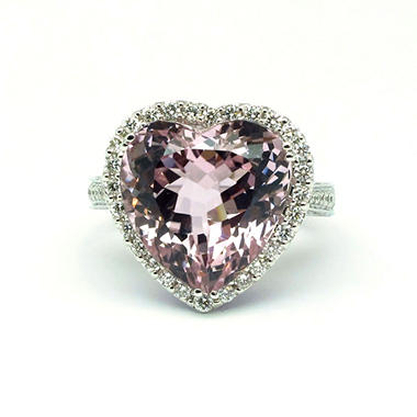 12.30 CT. Heart-Shaped Kunzite, Violet Sapphire & Diamond Ring in 18K White Gold (G-H, SI1-SI2)