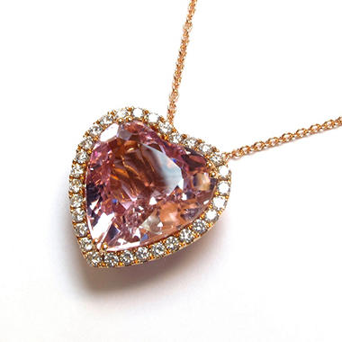 11.91 CT. Heart-Shaped Kunzite, Violet Sapphire & Diamond Pendant in 18K Rose Gold (G-H, SI1-SI2)