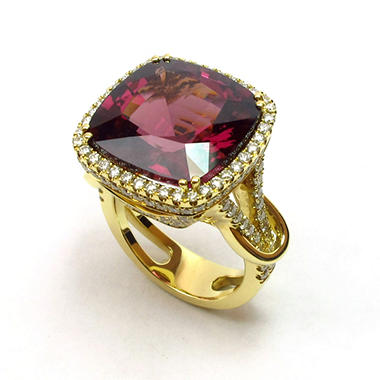 18.19 CT. Cushion-Cut Rhodolite & Diamond Cocktail Ring in 18K Yellow Gold (G, SI1-SI2)