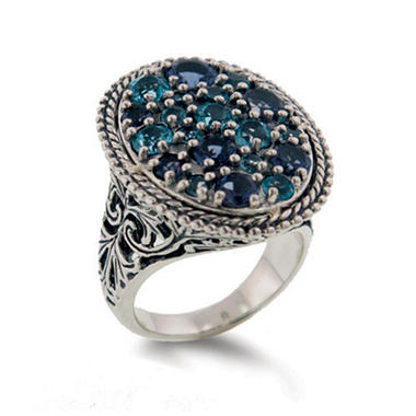 Iolite and Blue Topaz Ring in Sterling Silver
