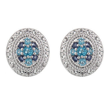 Iolite and Blue Topaz Earrings in Sterling Silver