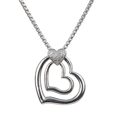 Diamond Double Heart Pendant in Sterling Silver