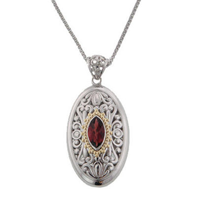 2.1 ct. Oval Garnet Pendant in 14k Yellow Gold and Sterling Silver