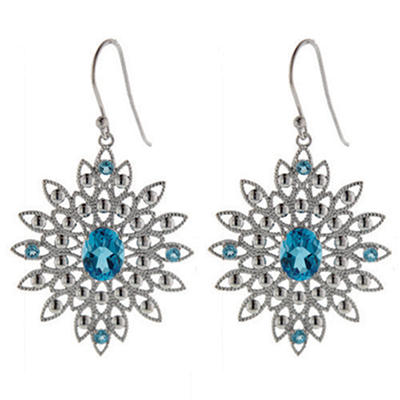 Blue Topaz Lacey French Wire Earrings in Sterling Silver