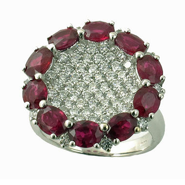 Oval Ruby and Diamond Ring in 18K White Gold (H, I1)