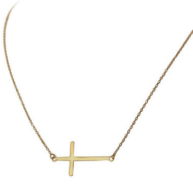 14K Yellow Gold Sideways Cross Necklace