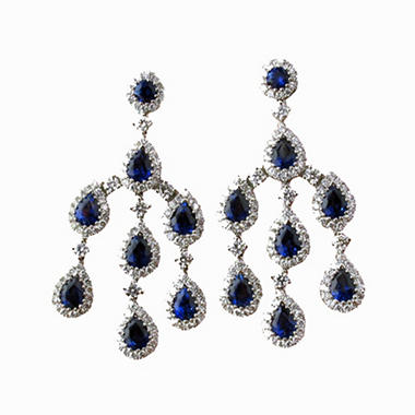 Pear-Shaped Sapphire and Diamond Earrings in 18K White Gold (H, I1)