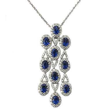 Oval-Shaped Sapphire and Diamond Pendant in 18K White Gold (H, I1)